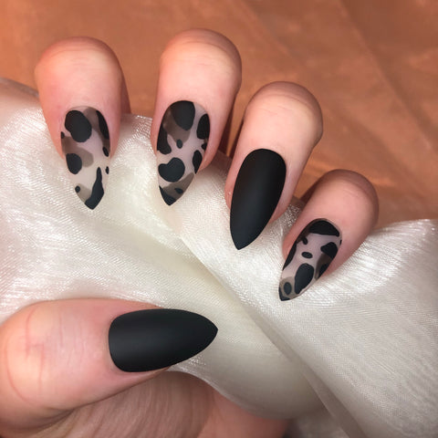 Black Matte Camo Stiletto Nails