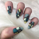 Frankenstein Halloween Stiletto Nails