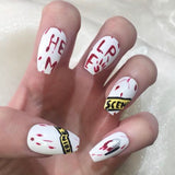 Crime Scene Halloween Stiletto Nails