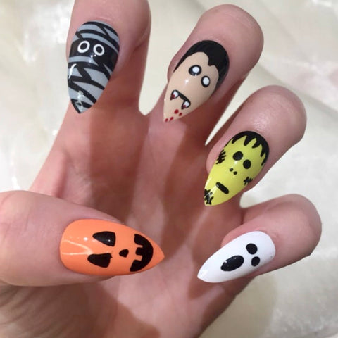 Halloween Character Stiletto Nails
