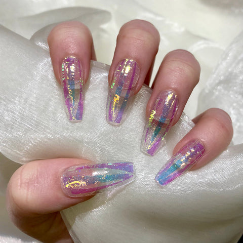 clear glitter coffin nails  nail ftempo