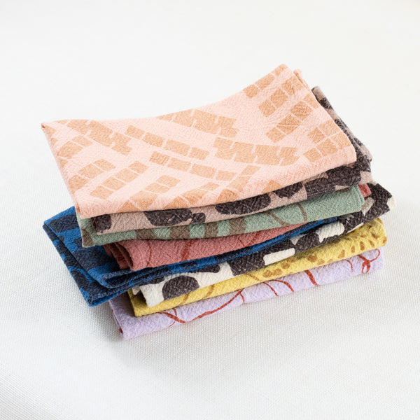 EVERYDAY NAPKINS - SET OF 8 - OVER-DYED - ASSORTED COLORS AND PATTERNS - #3 - LIMITED EDITION - DESERT PALETTE