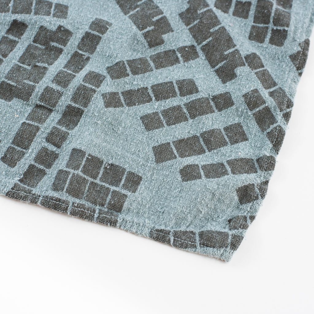Overdyed Bandana - Tiles in Fog Blue