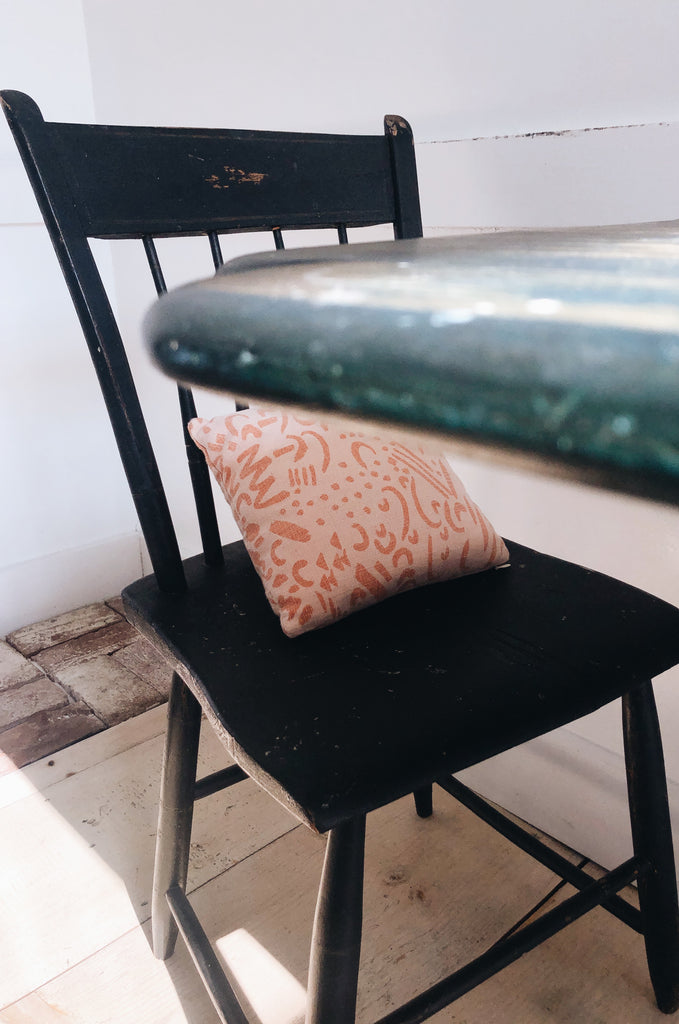 Mini Pillow - Dashes and Moons in Salmon over-dyed in Peach