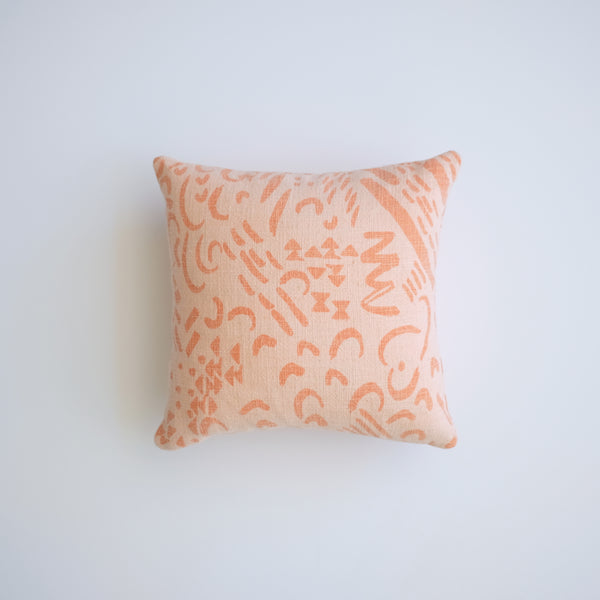 Pillow - Dashes and Moons in Salmon over-dyed in Peach