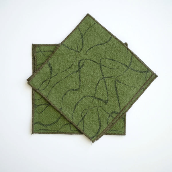 Mini Napkins - Weave in Faded Black and Grass