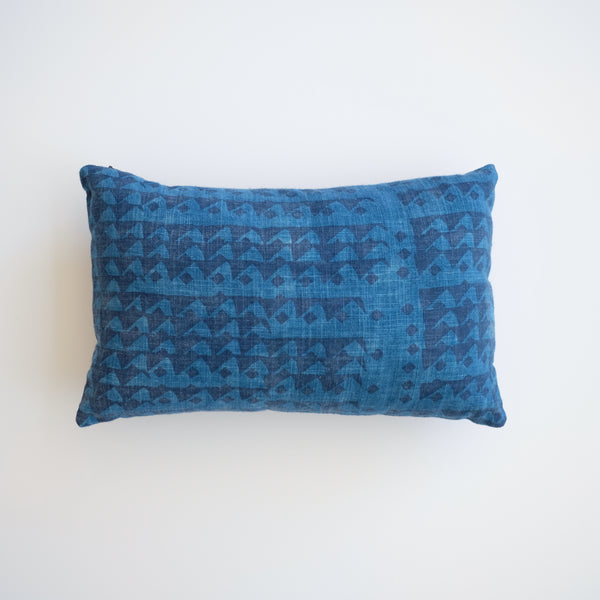 Pillow - Triangles in Indigo over-dyed in Natural Indigo