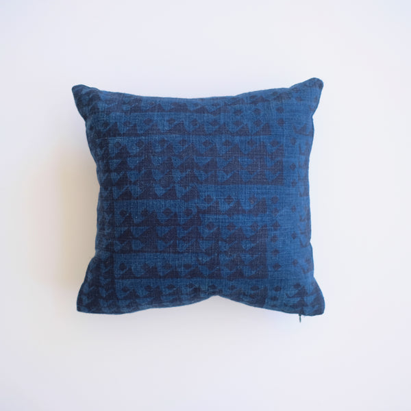 Pillow - Triangles in Indigo over-dyed in Dark Natural Indigo