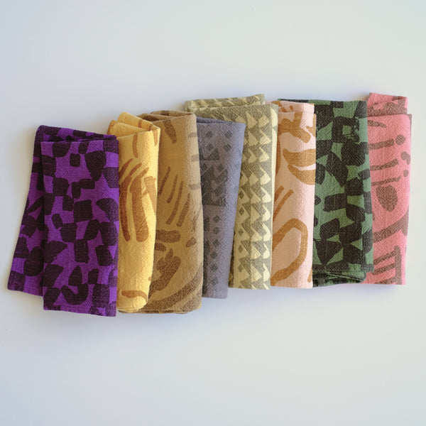 Everyday Napkins - Set of 8 - over-dyed - assorted colors and patterns - #2 - limited edition