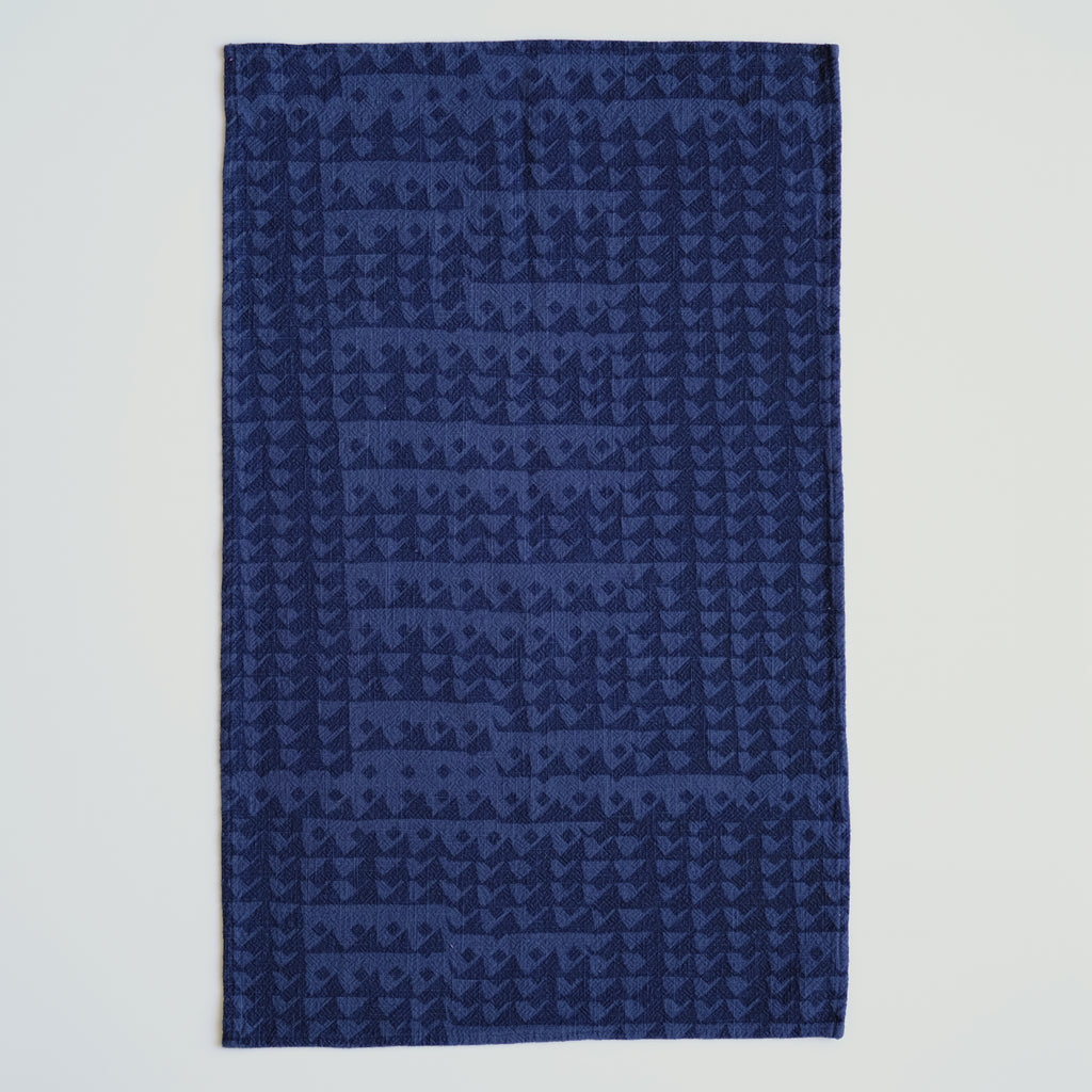 Tea Towel - Triangles - Midnight- Blue Black