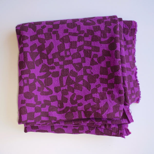Over-dyed fabric by the yard - Checks - Lentil - Violet