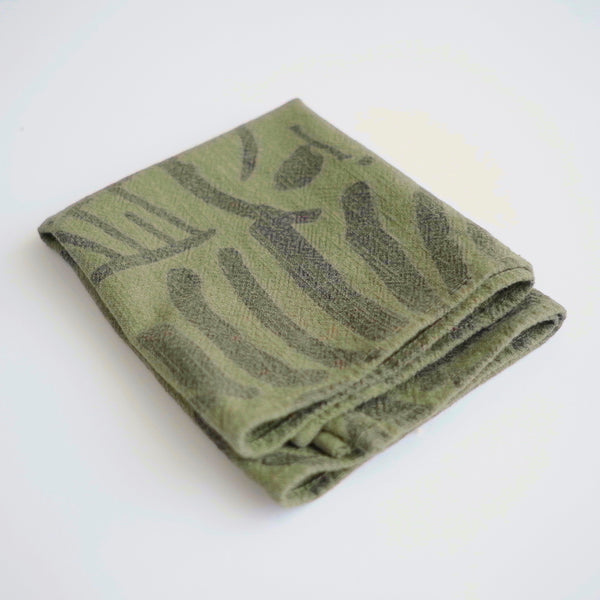 Tea Towel - Fold - faded black/grass