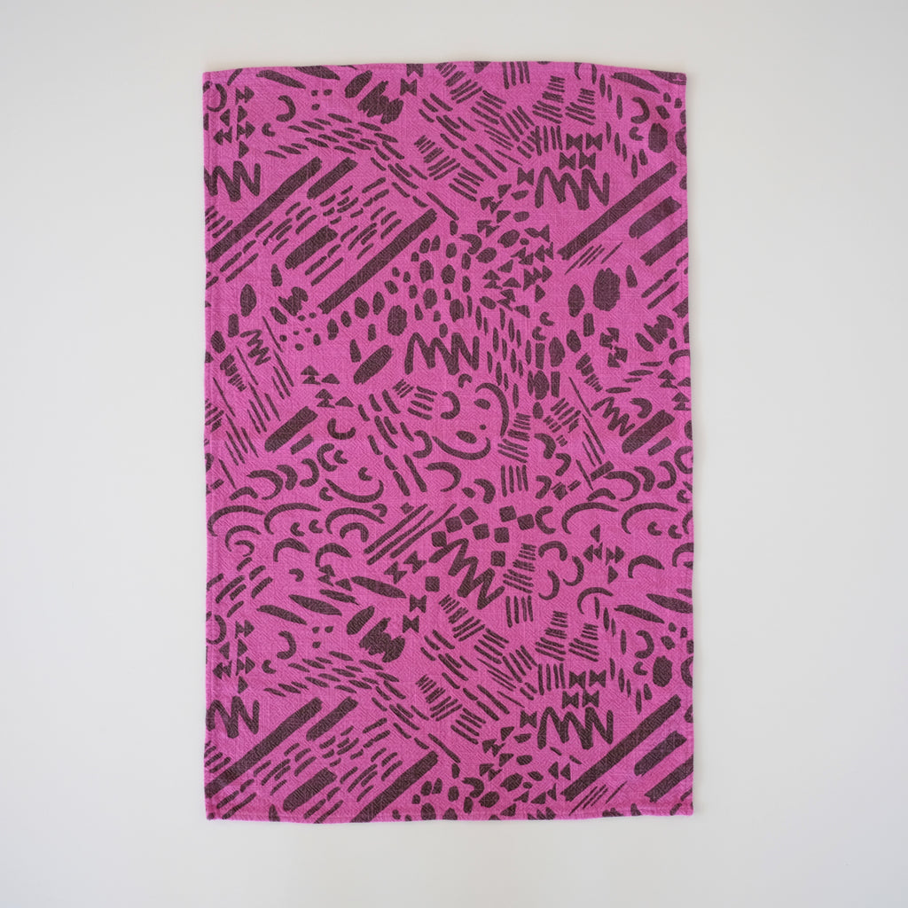 Tea Towel - Dashes & Moons -  Charcoal - Fuchsia