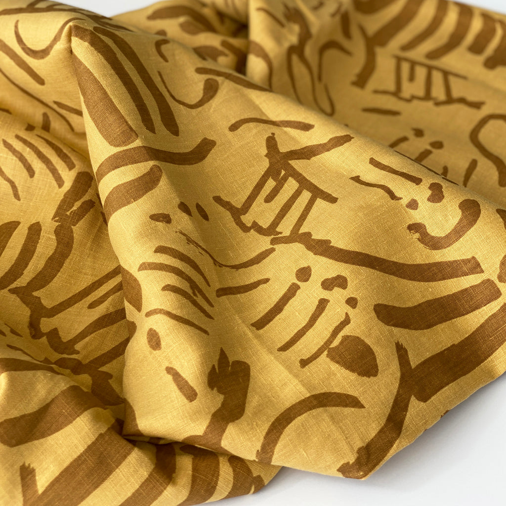Fold in Clay on Gold - 100% Linen - FABRIC BY THE YARD