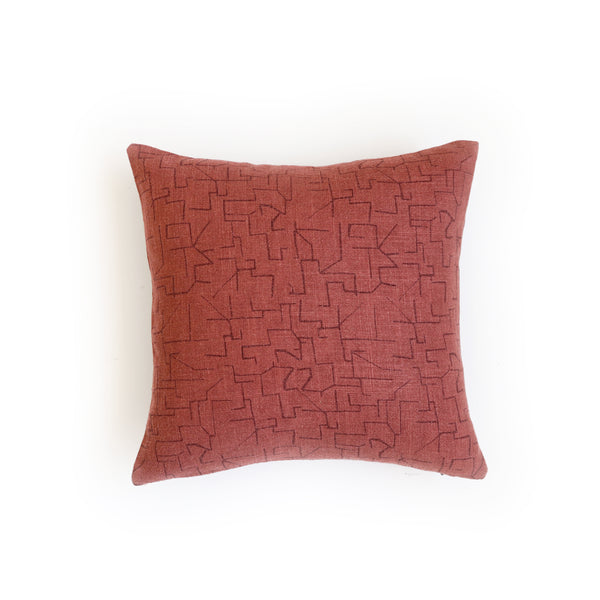 Pillow - Maze in Maroon over-dyed in Copper