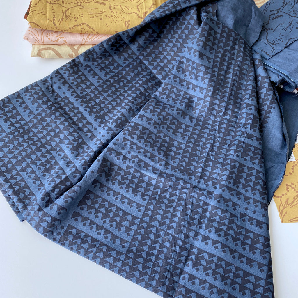 Triangles in Midnight on Deep Blue  - 100% linen - FABRIC BY THE YARD