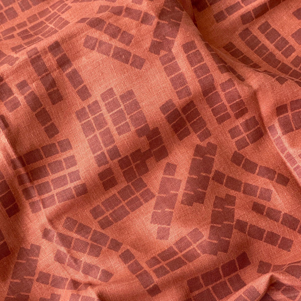 Tiles in Sky on Burnt Sienna - 100% linen - FABRIC BY THE YARD