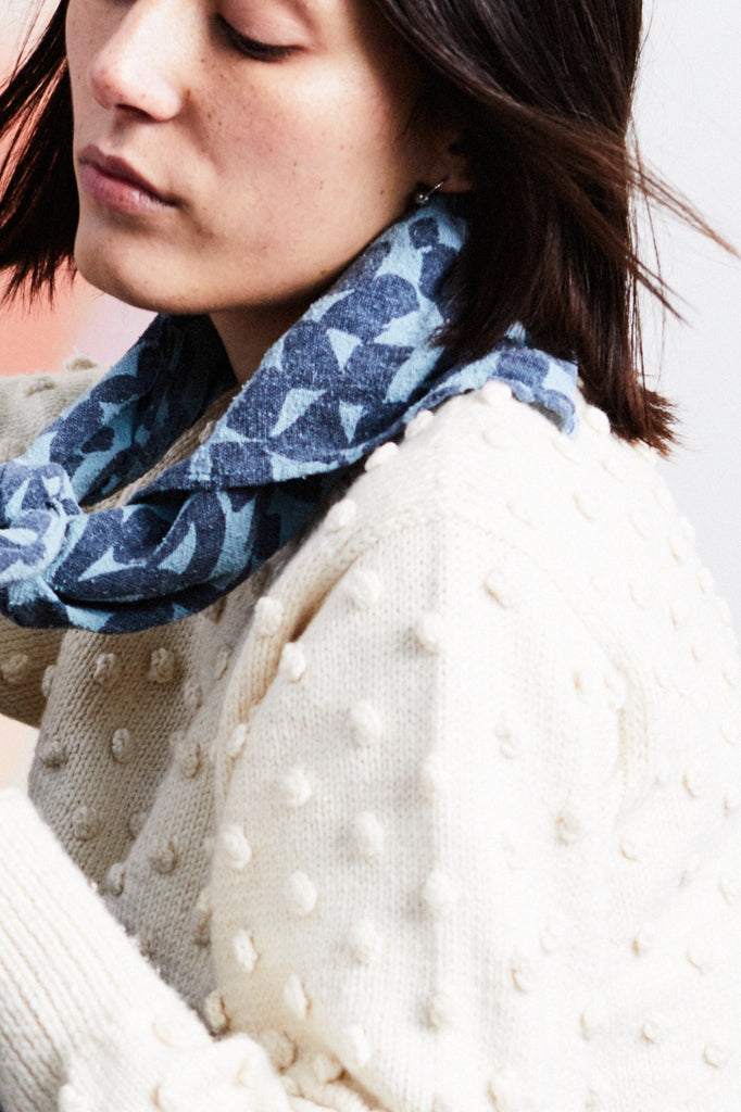 Over-dyed Scarf - Vintage Blue