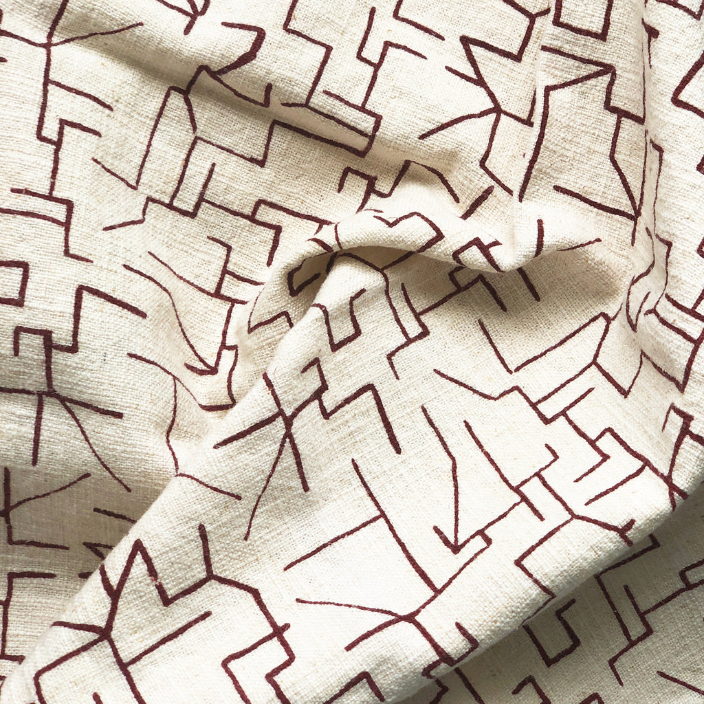 MAZE in MAROON - Fabric by the yard