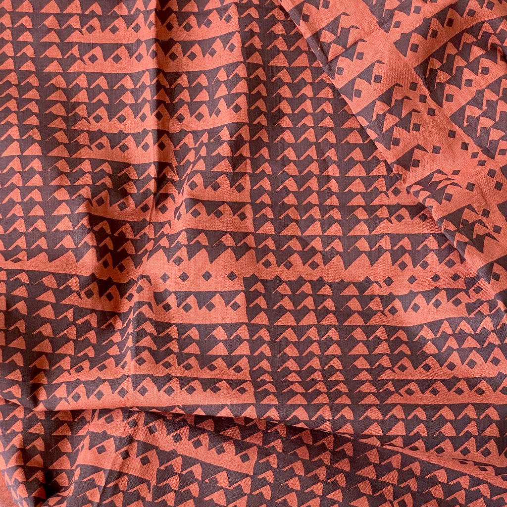 Triangles in Midnight on Burnt Sienna - 100% linen - FABRIC BY THE YARD