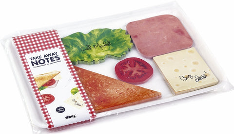 sticky notes notepad cheese lettuce ham tomato bread sandwich deli packaging package