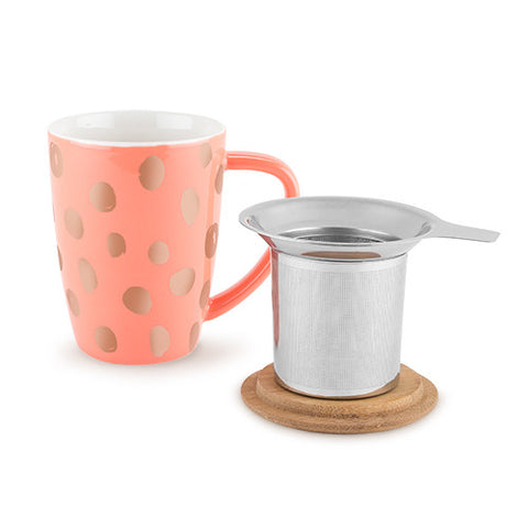 peach mug tea coffee infuser lid polka dot copper pink