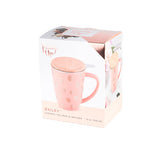 peach mug tea coffee infuser lid polka dot copper pink box package packaging