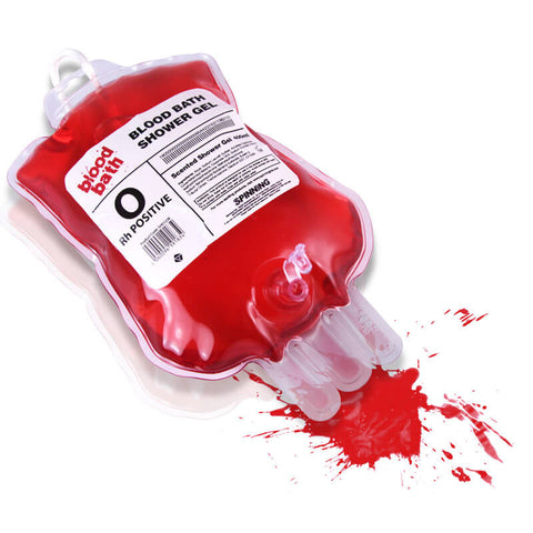 bloody blood shower gel soap in medical blood bag white background