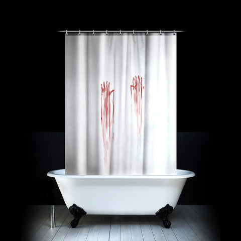 White Shower Curtain With Bloody Hand Prints Murder