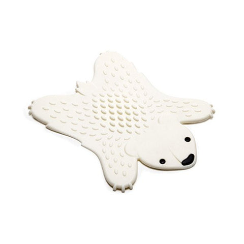 grizzly polar bear white pot holder silicone white background