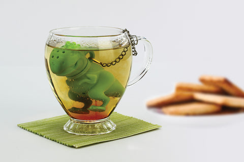 tea rex T-rex tea infuser green in mug cup