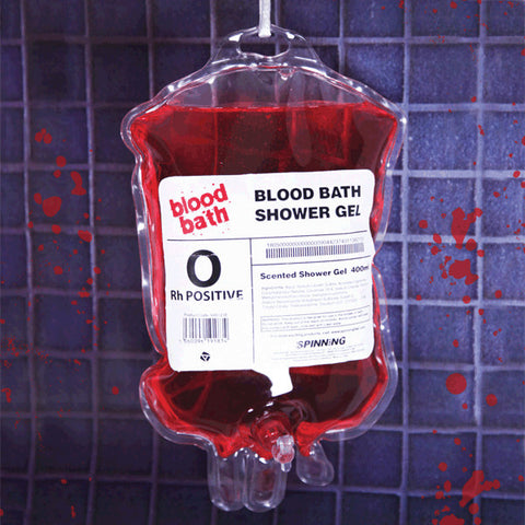 bloody blood shower gel soap in medical blood bag