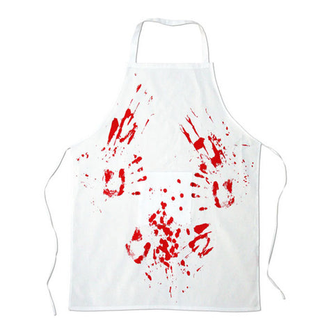 apron with bloody hand prints butchers apron white background