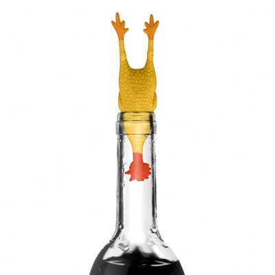 Rubber chicken coq au vin wine stopper saver in bottle