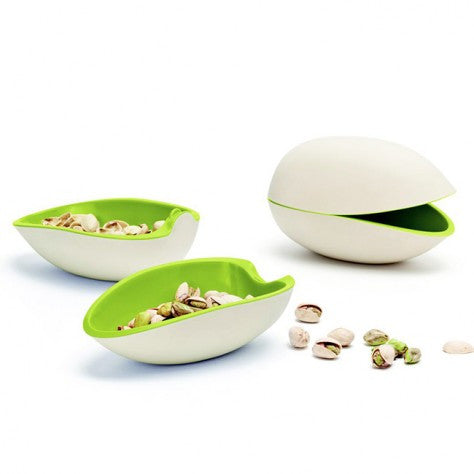 pistachio bowl white and green two halves nut bowl