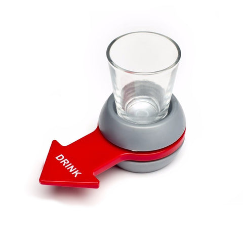 spin the shot drinking game spinning red arrow shot glass spin the bottle