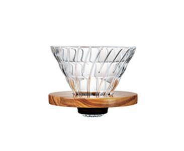 Hario V60-02 Glass and Olive Wood - White Goat Coffee