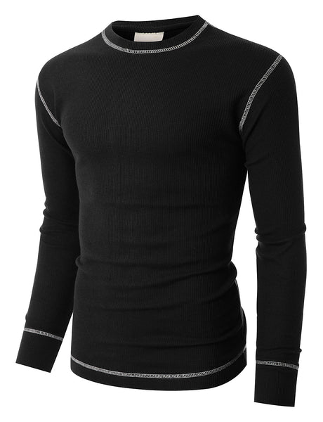 J. AMERICA PREMIUM Mens Midweight Waffle Knit Crew Neck Thermal T Shirt