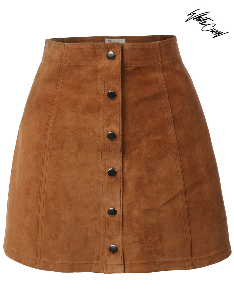3857cb349f67 LE3NO WHITE CROW Weston Womens A-Line Button Down Suede Mini Skirt ...