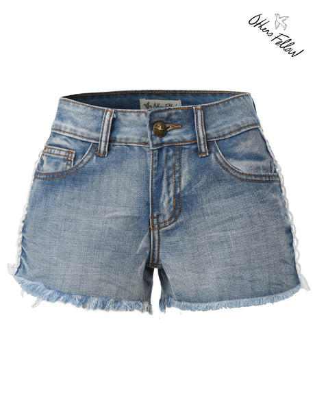 Others Follow Carolina Womens Crochet Side Denim Shorts