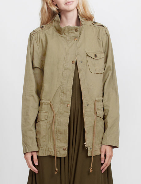 LOVE TREE Womens Anorak Utility Military Jacket with Drawstring