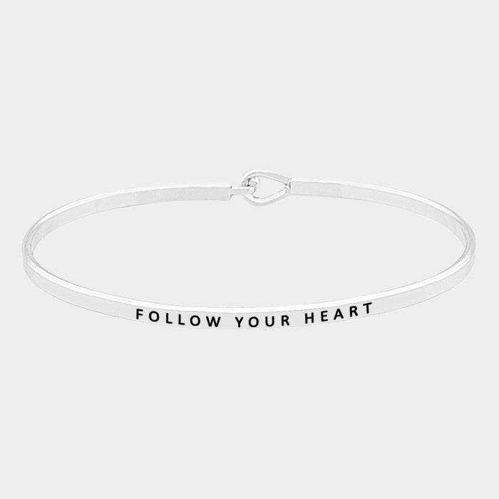 Follow Your Heart Mantra Bracelet Silver
