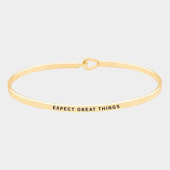 Expect Great Things Mantra Bracelet Gold