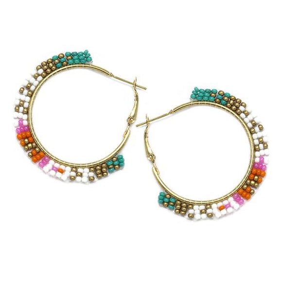 Santorini Beaded Hoop Earrings