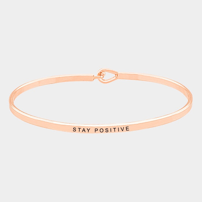 Stay Positive Mantra Bracelet Rose Gold