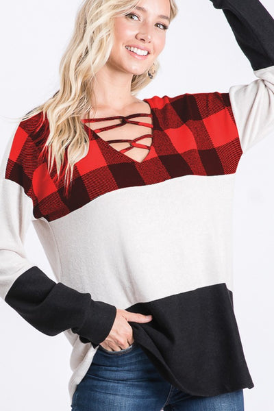 Criss-Cross Plaid Top