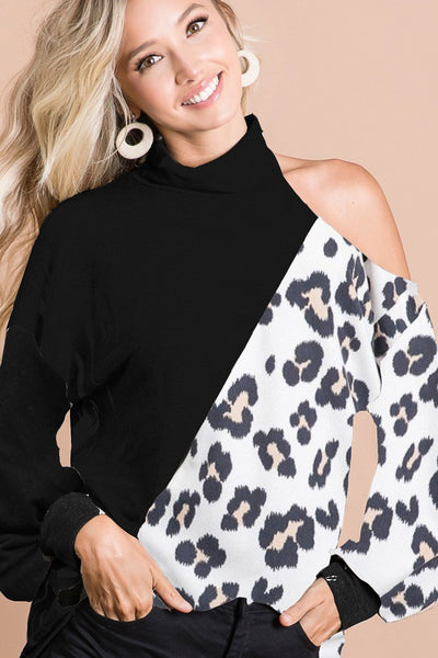 Leopard and Solid Black High Neck Top