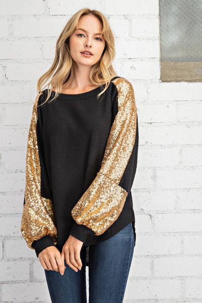 Waffle Knit Gold Sequin Top