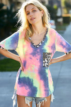 Tie Dye Leopard Pocket Top