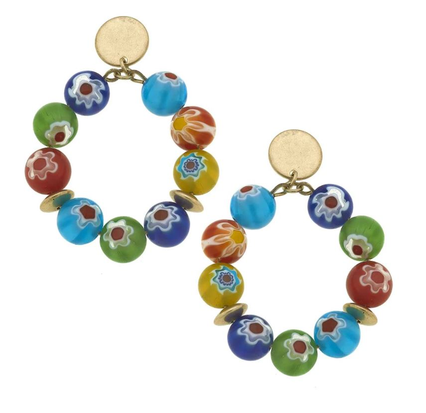 Millefiori Glass Bead Hoop Earrings